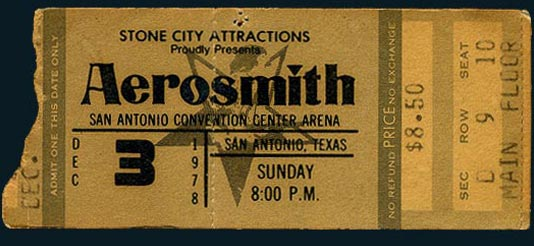 1978 San Antonio Aerosmith Ticket