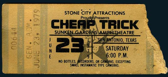 1979 San Antonio Cheap Trick Ticket