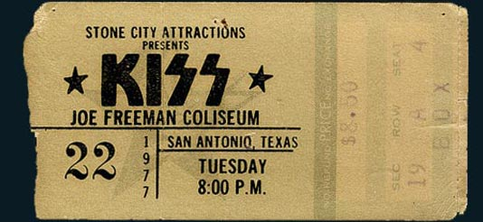 1977 San Antonio Kiss Ticket