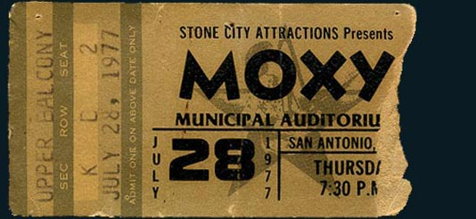 1977 San Antonio Moxy Ticket