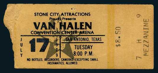 1979 San Antonio Van Halen Ticket